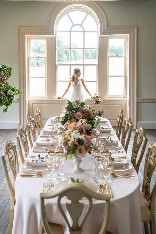 Elegant Tablescape with Blush Rose Floral Centrepieces by Emma Soulsby Flowers   Timeless Romance at Country House West Horsley Place, Surrey   Planned by Rachel Dalton Weddings   David Wheeler Photography