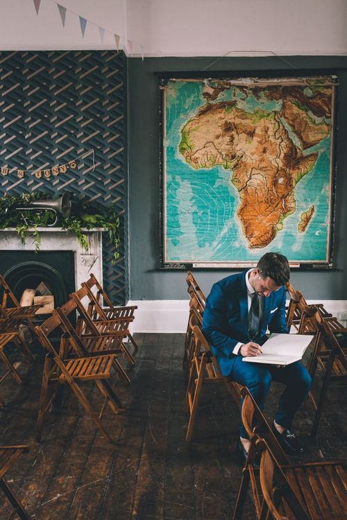 The Roost Dalston Wedding Reception with vintage decor and colourful signage