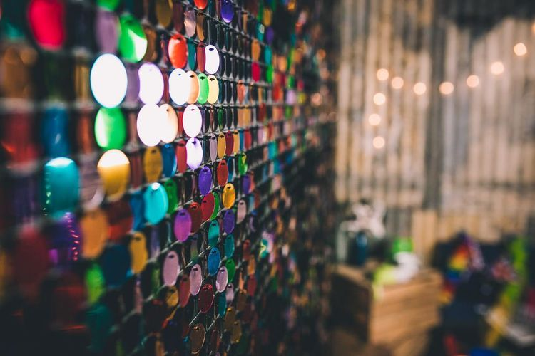 The Roost Dalston wedding reception with vintage decor and colourful bunting
