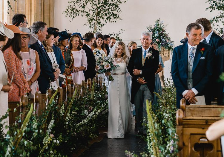 Floral Lined Aisle For Wedding Ceremony // Coastal Inspired Marquee Wedding With Bride In Bespoke Dress And Bridesmaids In Rewritten Wrap Dresses Images By Luis Holden