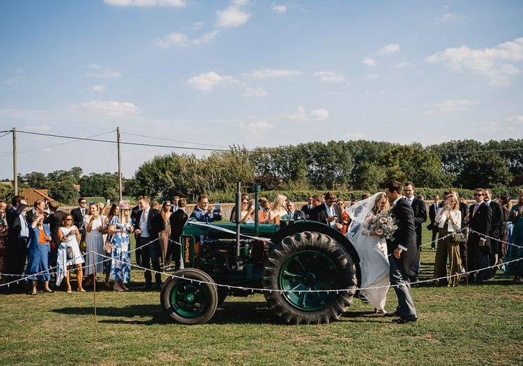 Tractor Wedding Transport // Coastal Inspired Marquee Wedding With Bride In Bespoke Dress And Bridesmaids In Rewritten Wrap Dresses Images By Luis Holden
