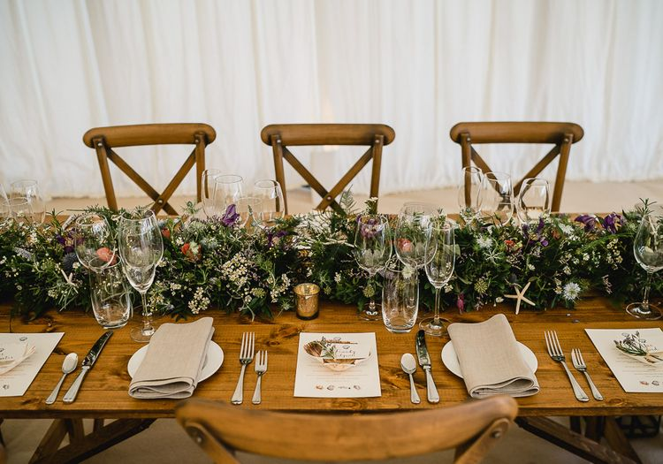 Floral Table Runner // Coastal Inspired Marquee Wedding With Bride In Bespoke Dress And Bridesmaids In Rewritten Wrap Dresses Images By Luis Holden