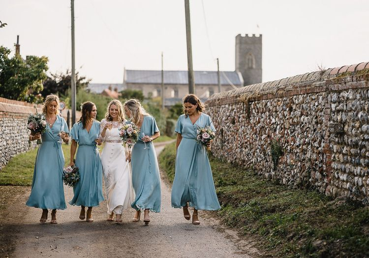Bridesmaids In Marine Blue Wrap Dresses By Rewritten // Coastal Inspired Marquee Wedding With Bride In Bespoke Dress And Bridesmaids In Rewritten Wrap Dresses Images By Luis Holden