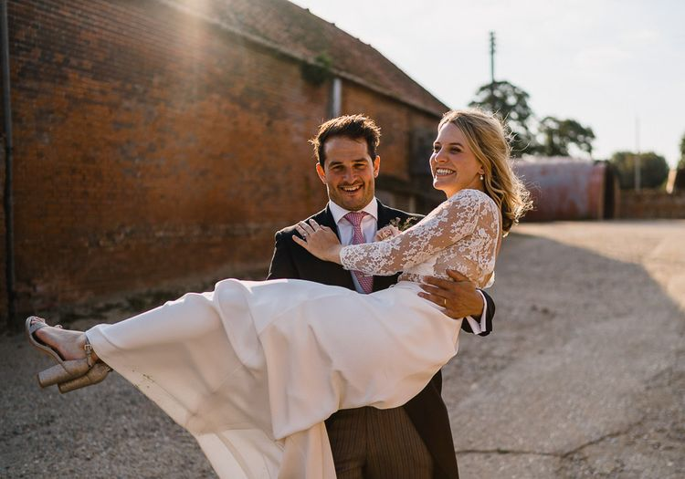 Bride In Bespoke Dress // Groom In Oliver Brown // Coastal Inspired Marquee Wedding With Bride In Bespoke Dress And Bridesmaids In Rewritten Wrap Dresses Images By Luis Holden