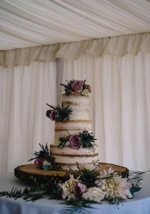 Semi Naked Wedding Cake // Bride In Bespoke Dress // Groom In Oliver Brown // Coastal Inspired Marquee Wedding With Bride In Bespoke Dress And Bridesmaids In Rewritten Wrap Dresses Images By Luis Holden