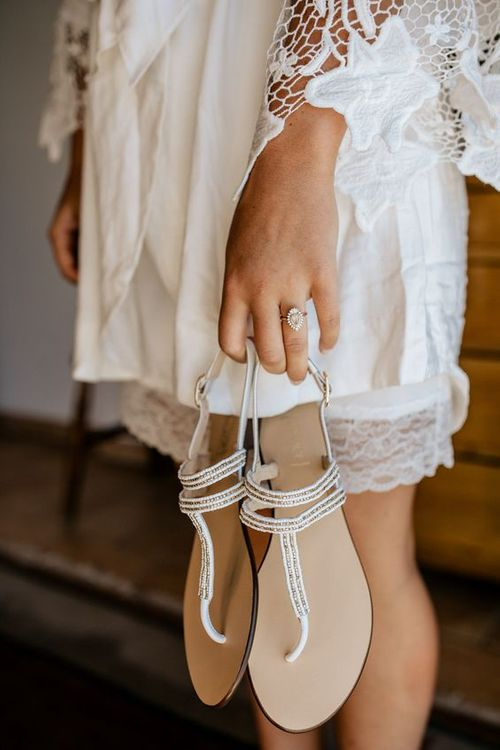 Flat Wedding Shoes from Bocage | Bohemian Luxe Wedding In Mallorca At Finca Son Bosch With Bride In Made With Love Bridal Gown & Images By Chris & Ruth Photography