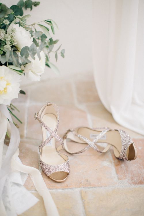 Glitter Cross Strap Jimmy Choo Bridal Shoes | Elegant French Chateau Wedding | Bride In Needle & Thread And Images From M&J Photography