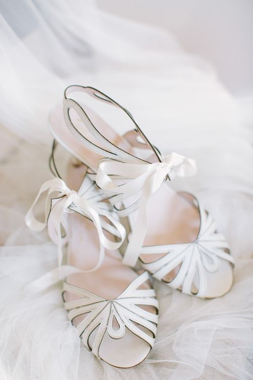 Harriet Wilde Lasercut and RibbonWedding Shoes | DIY Country Wedding at Warborne Farm, Lymington | Camilla Arnhold Photography