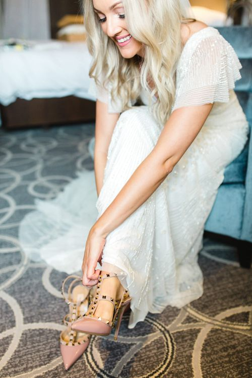 Valentino Rockstud Wedding Shoes | Bride in Eliza Jane Howell Wilma Gown | The Gibson's Photography | Second Shooter Martin Venherm | White Balloon Films