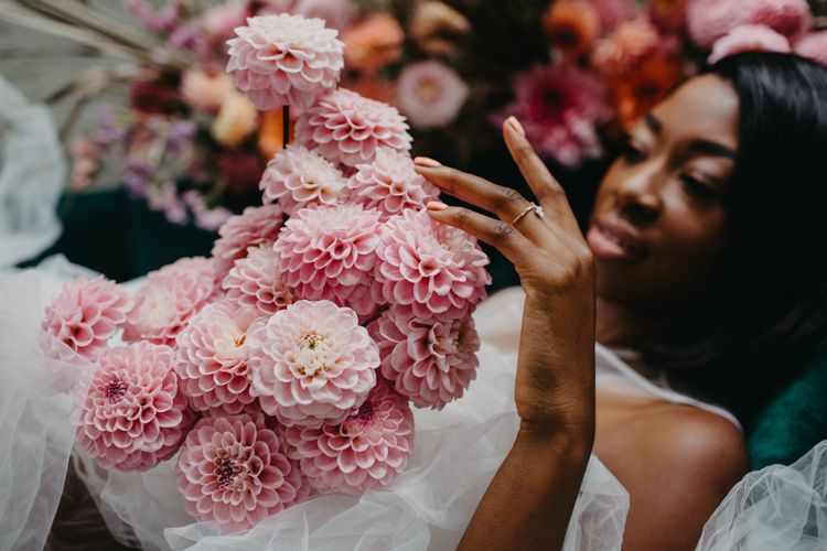 pale pink pompom dahlia wedding bouquet