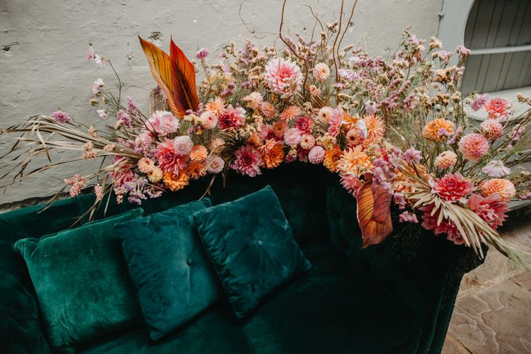Tropical pink, orange and coral wedding flowers