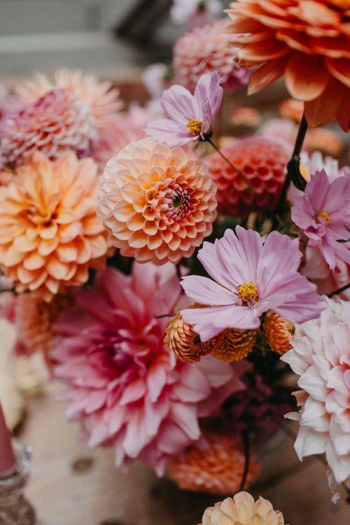 Colourful dahlia wedding flowers