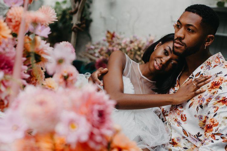 Bride and groom embracing at intimate Secret Garden Kent wedding
