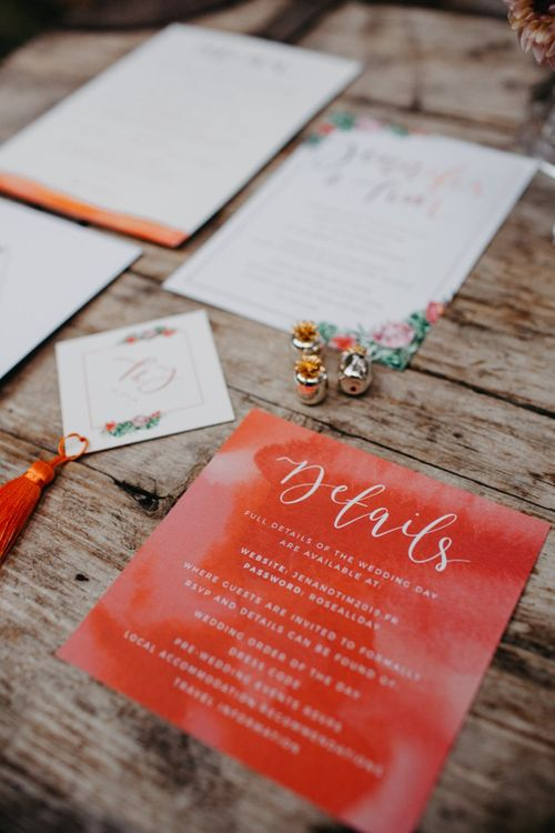 Wedding stationery suite with tassels and floral illustrations