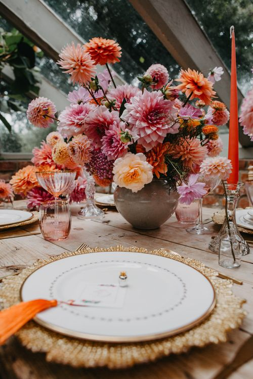 Pink, peach and coral floral arrangement