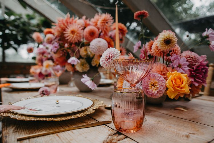 coloured glassware for tropical tablescape at Secret Garden Kent