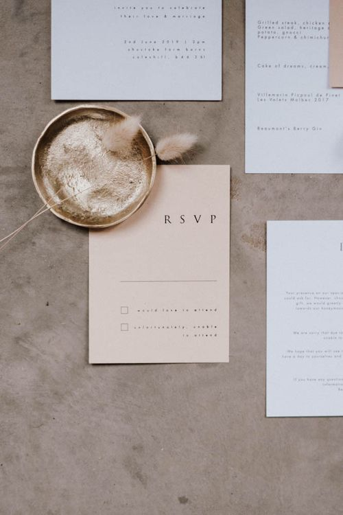 Stationery suite by EYI Loves for Iscoyd Park Coachhouse Inspiration