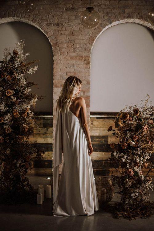 Bride in halter neck, Emma Beaumont wedding dress
