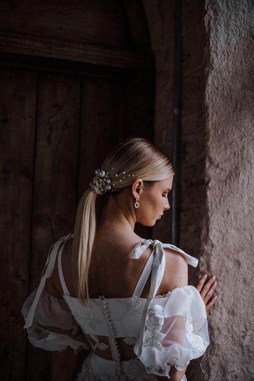 Sleek bridal ponytail pearl hair pieces