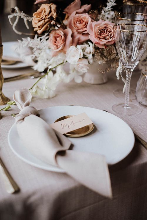 Place setting with napkin and name place card for Iscoyd Park Coachhouse reception