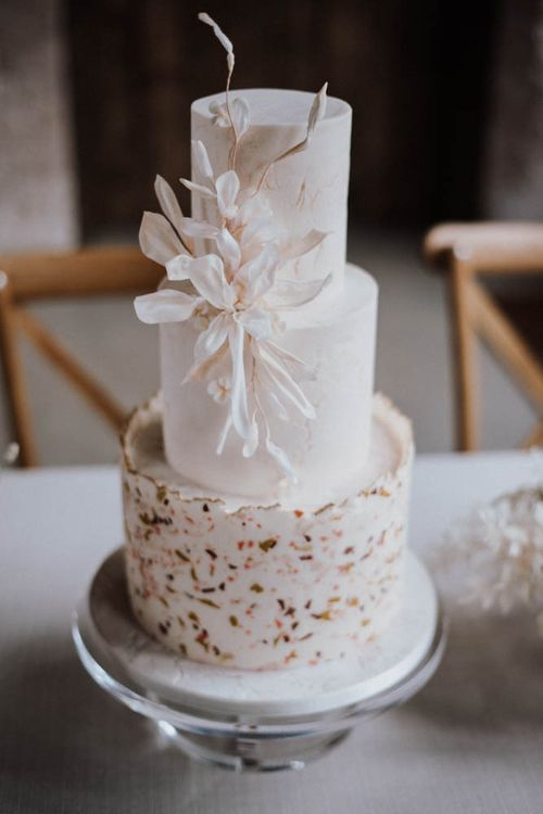 Elegant wedding cake by Union cakes at Iscoyd Park Coach House reception