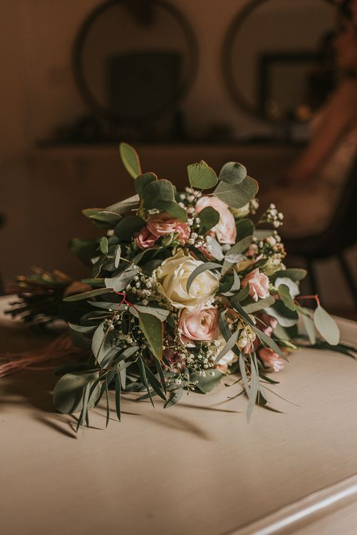 Blush Pink and White Rose Bouquet with Foliage