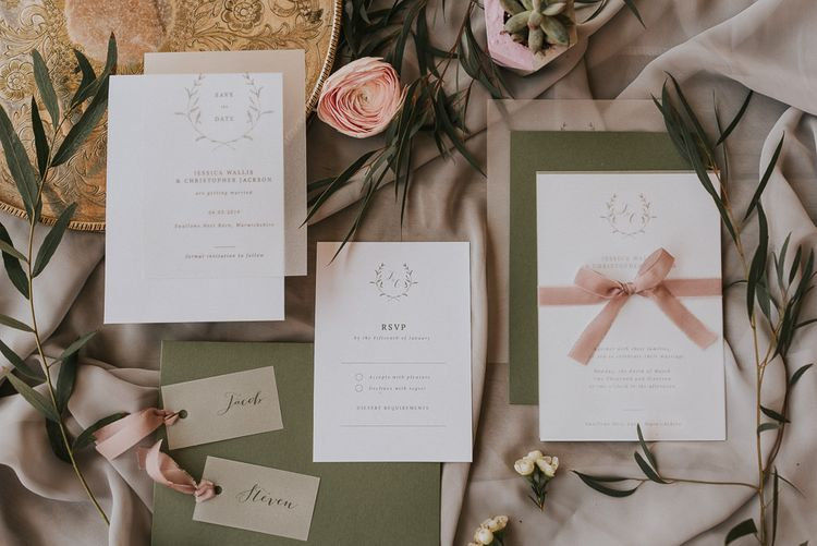 Wedding Stationery Suit with Green Envelopes and Blush Pink Ribbon