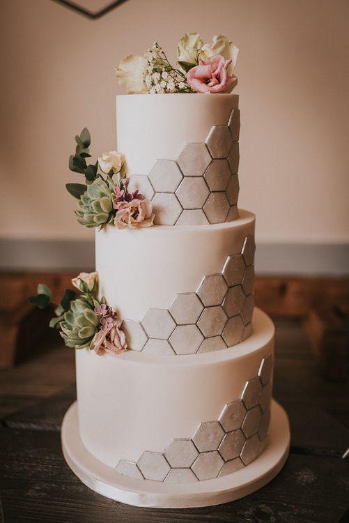 Three Tier White Wedding Cake with Silver Hexagonal Honeycomb Effect