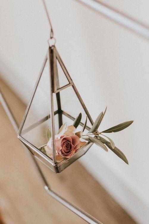 Hanging Terrarium with Blush Pink Rose Head