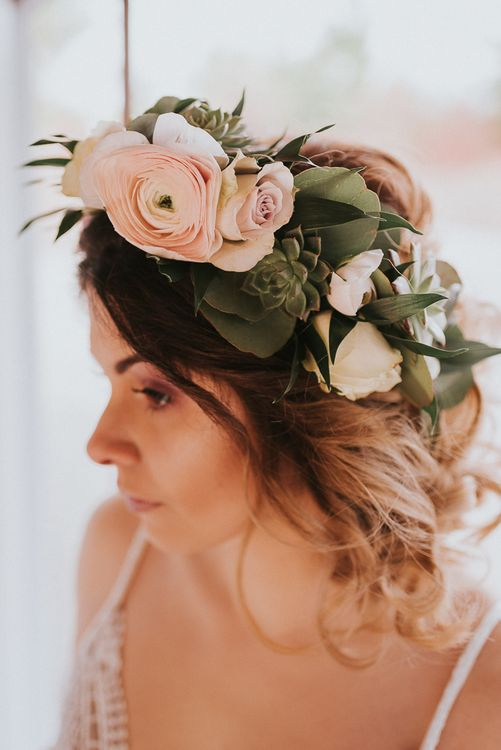 Undone Bridal Up Do with Flowers