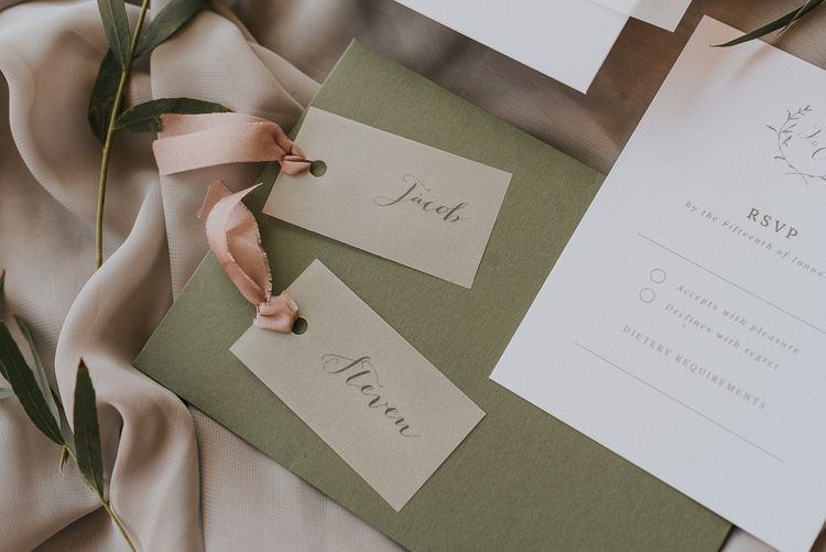 On the Day Wedding Stationery Place Name Tags with Pink Ribbon