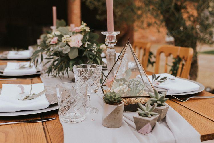 Mini Succulents and Terrarium Table Centrepieces