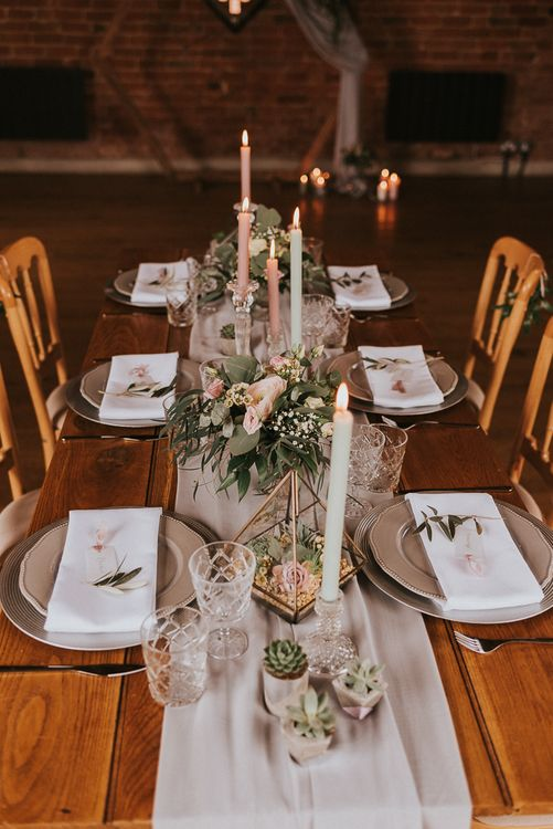 Table Runner Centrepiece with Taper Candles, Floral Arrangements and Terrarium's