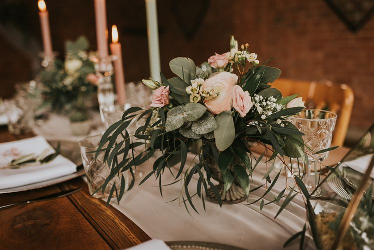 Pink Ranunculus Floral Centrepiece with Foliage