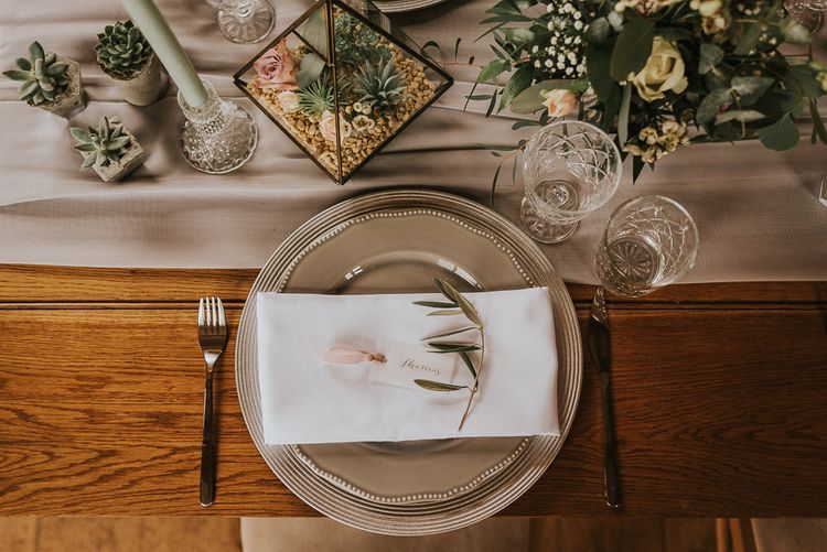 Place Setting with Grey Crockery, Terrarium Centrepiece and Succulent Plants