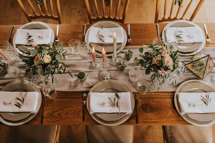 Tablescape with Elegant Place Settings, Taper Candles, Terrariums  and Romantic Pink Flowers