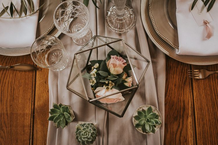 Miniature Succulents and Terrarium Table Decor Filled with Roses