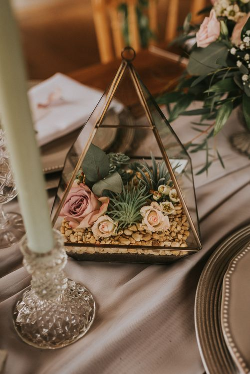 Terrarium Table Decor Filled with Stones, Foliage and Blush Pink Roses