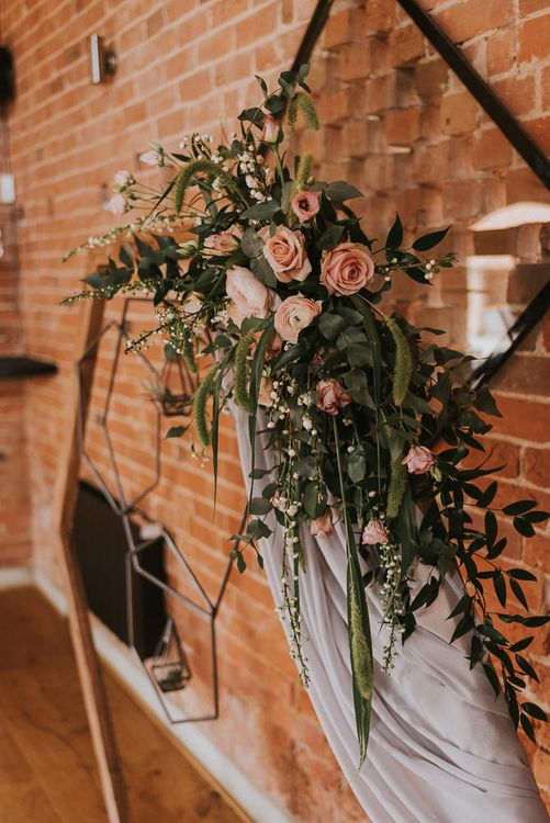 Wooden Hexagonal Arch with Blush Pink and Greenery Floral Arrangement