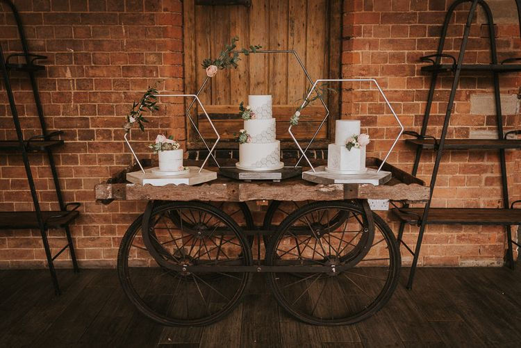 Cake Table with Hexagonal Cake Frames and Geometric Patterns
