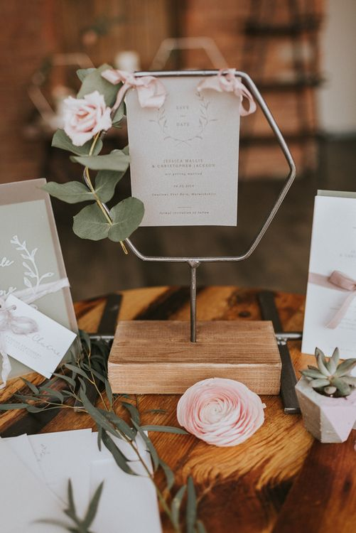 Hexagonal Table Name Holder with Elegant On The Day Stationery Sign