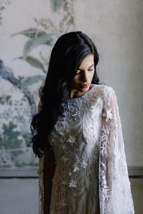 Beautiful Bride in Bespoke Julita London Bridal Gown with Bell Sleeves