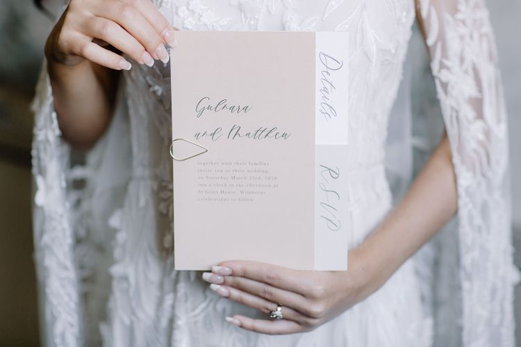 Blush Pink and White Wedding Stationery with Grey  Calligraphy Font