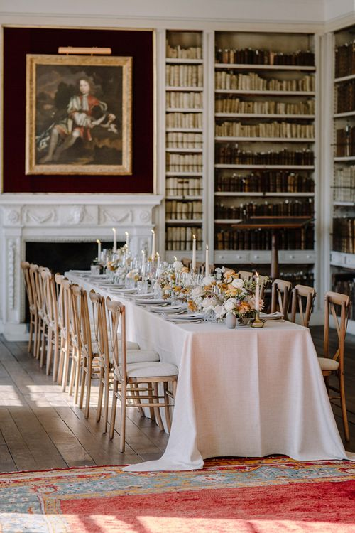 Elegant Tablescape in Library of St Giles House