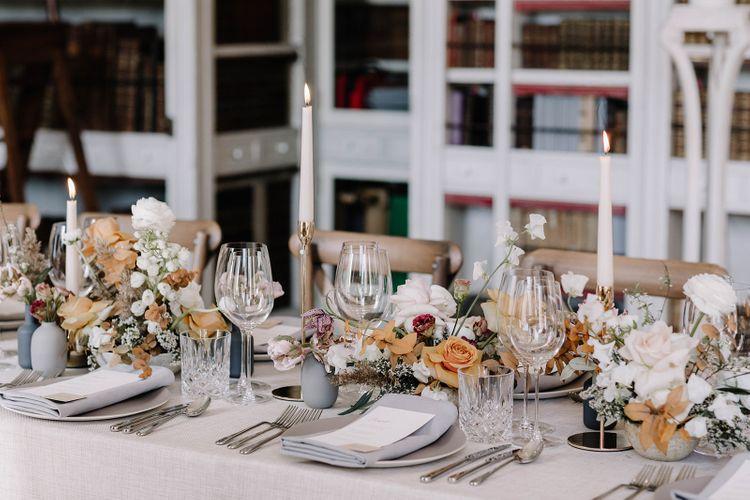 White, Grey and Muted Orange Wedding Table Decor