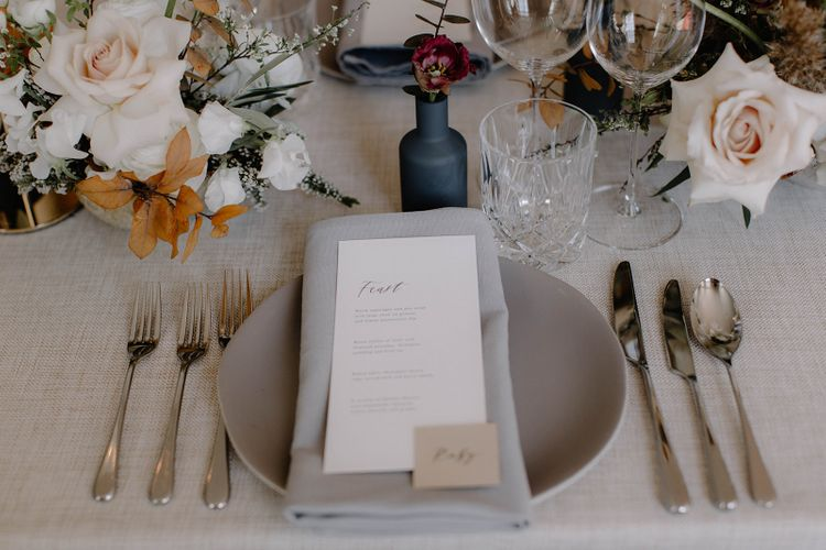 Elegant Place Setting with Grey Linen Napkin, Minimalist Menu Card and Name Place Card