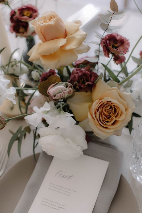 Soft Peach, White and Red Floral Display