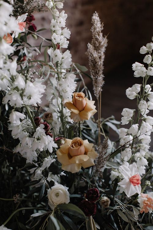 White and Peach Wedding Flowers