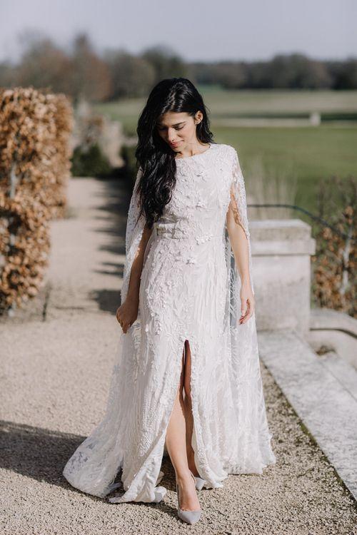 Bride in Applique Wedding Dress with Front Split Detail