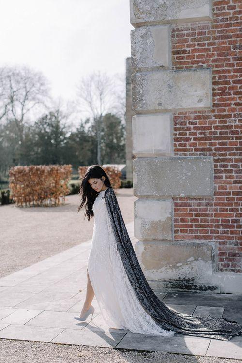 Bride in Long Black Sequin Bridal Cape